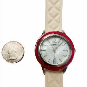 Isaac Mizrahi White Wristwatch Rubber Band EUC
